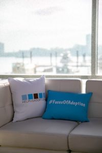 Custom pillows at Current made by client on the soft seating that the venue offers