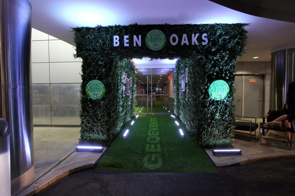 Current entrance decorated in green and with a green carpet