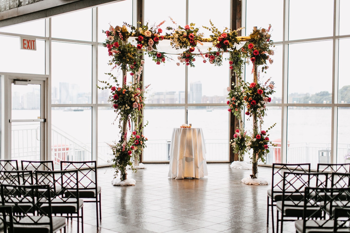 View from indoor wedding venue overlooking water