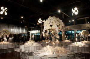 Dining room with elegant floral arrangements