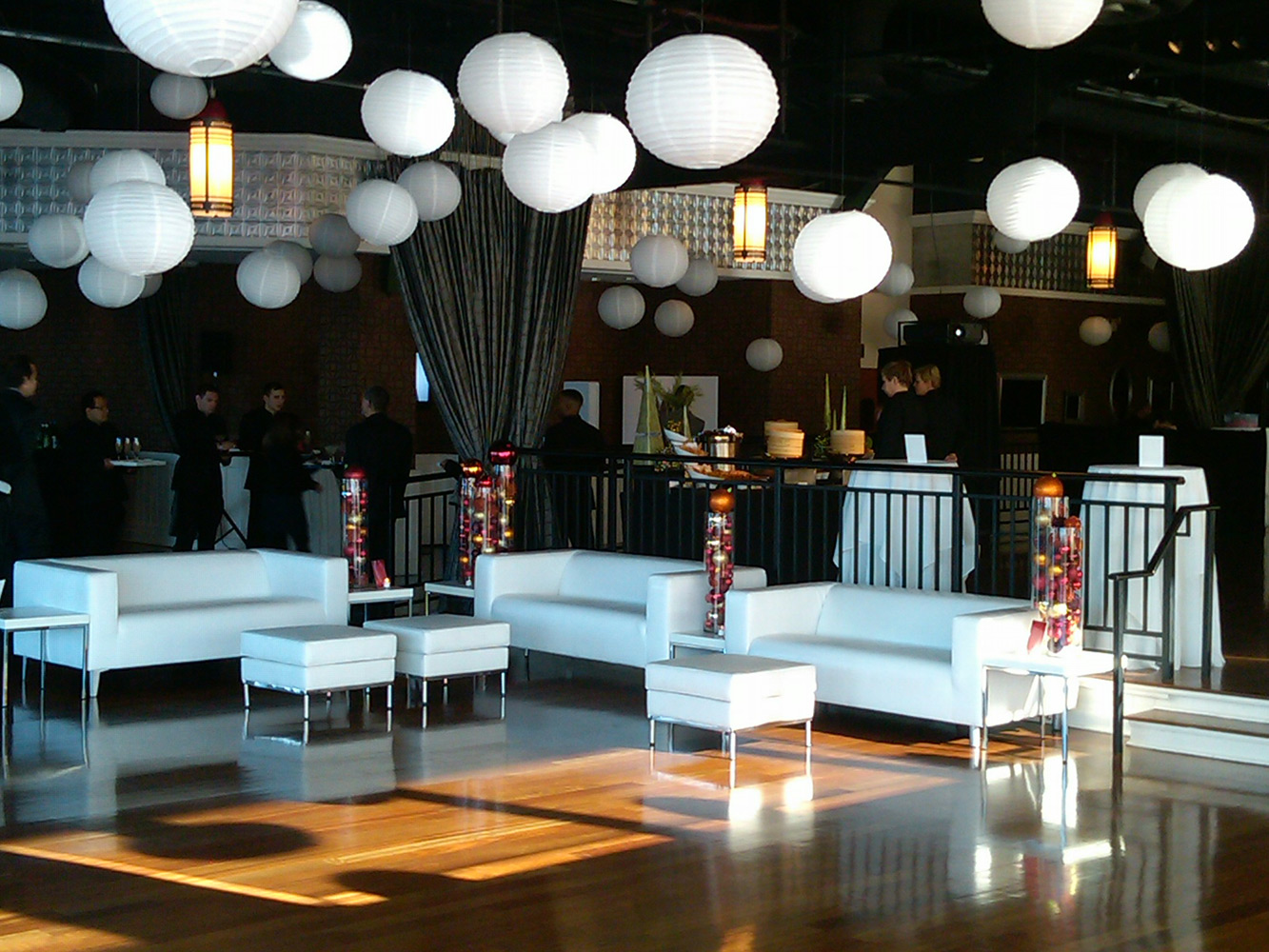 Giant white orbs above sitting area