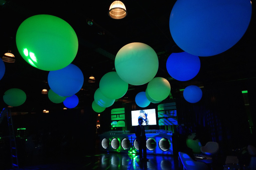 Green and blue round light fixtures added in the room for a mitzvah celebration