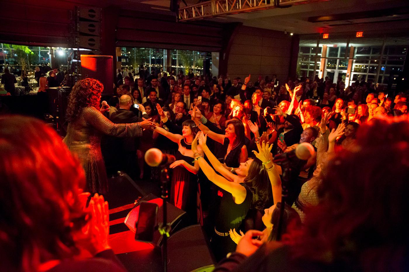 Partygoers dancing