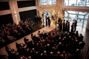 View of wedding ceremony under Chuppah from above