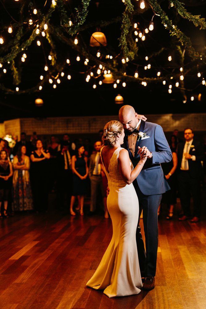 Couple enjoying their first dance at wedding