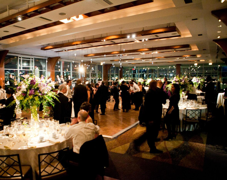 Guests on dance floor during wedding