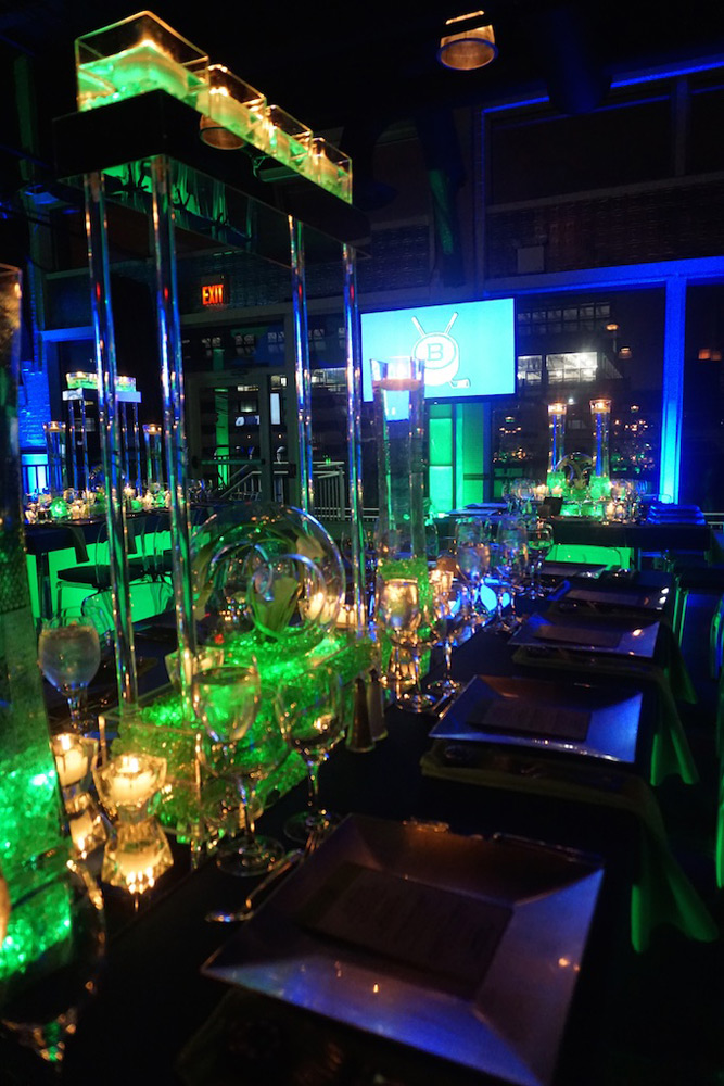 Cool hockey themed Mitzvah with moody green lighting