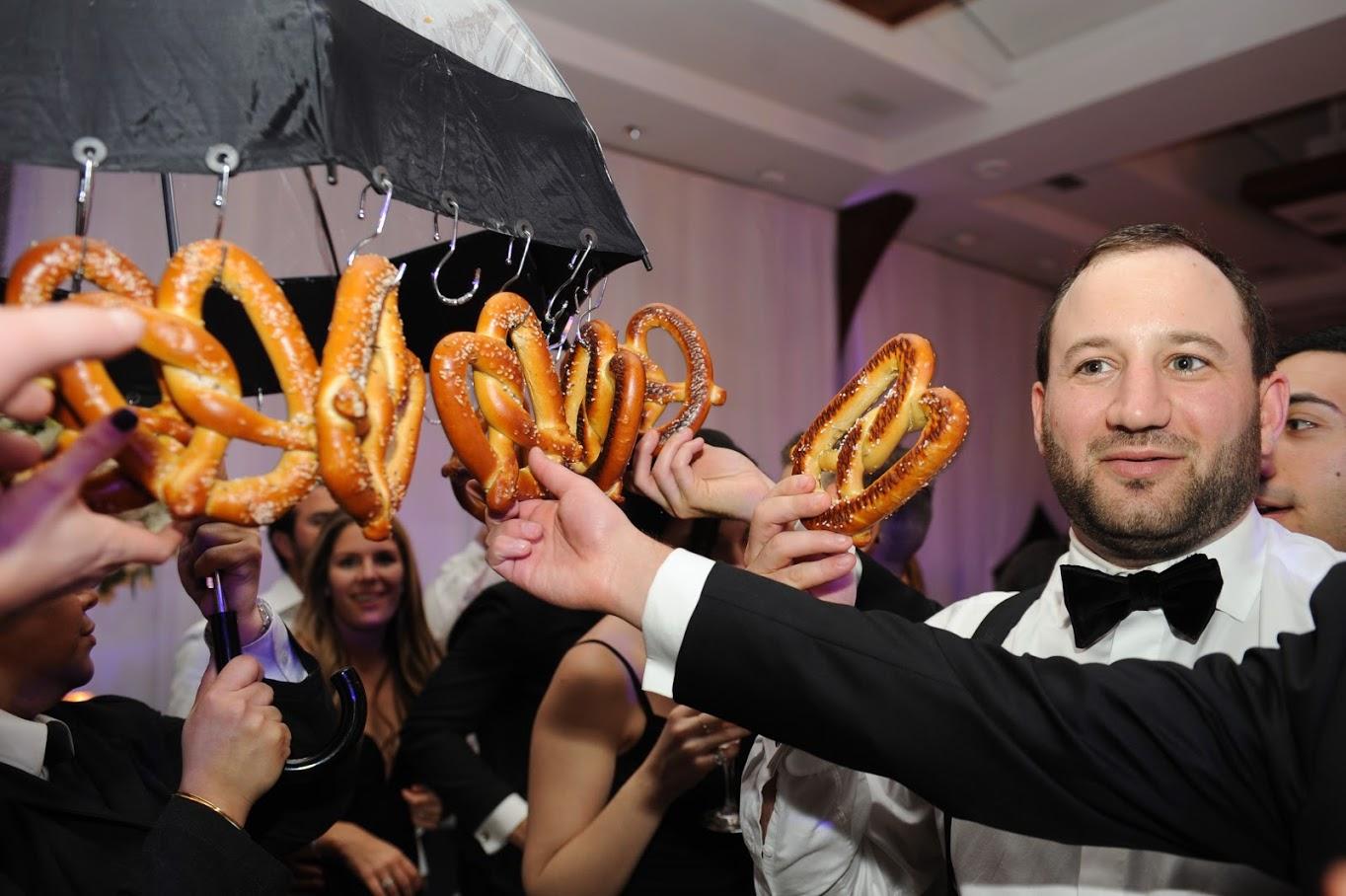 Guests grabbing pretzels