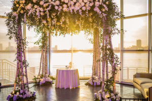 Chuppah and Sunset in the background