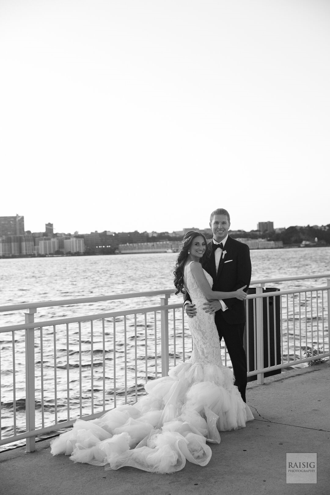 Bride and Groom in front of the Hudson River