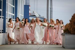 bridesmaids at the lighthouse Veranda