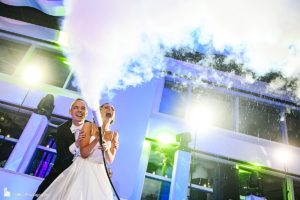 Current Bride and Groom playing with Smoke Machine