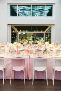 Dinner set at Current in pink and white