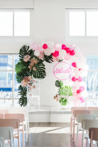 Current Mitzvah Ceremony with pink, green and white decor details
