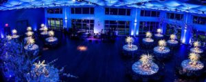 Current set in blue lights for a wedding dinner dance