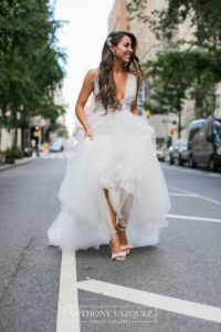 bride walking in the middle of the street