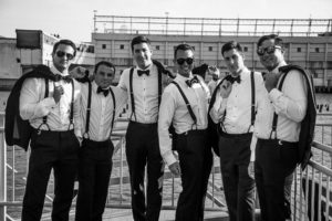 Groom and groomsmen at the Current Veranda
