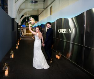 Bride and Groom walking down the Current pedestrian access point
