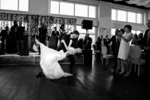 Bride and Groom dancing at Current, black and white picture