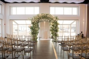 Ceremony Set with a beautiful flower arch up front