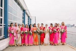 Bridesmaids and one brideman at The Lighthouse veranda